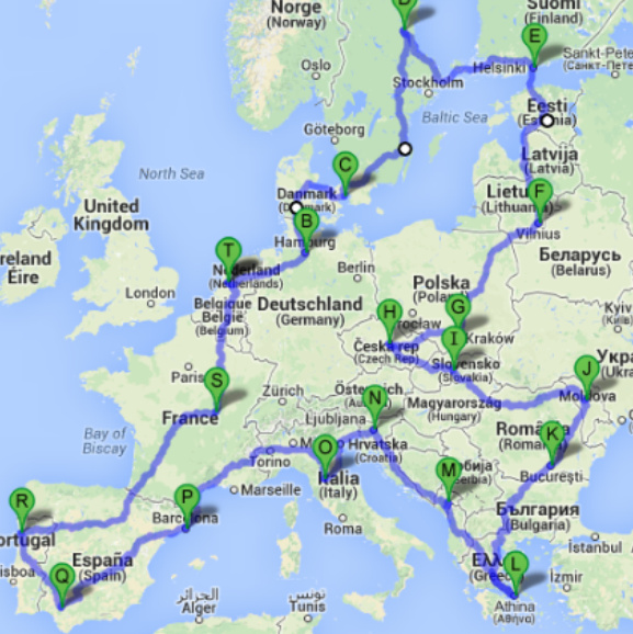 My plans. About 16000 km. Joy!